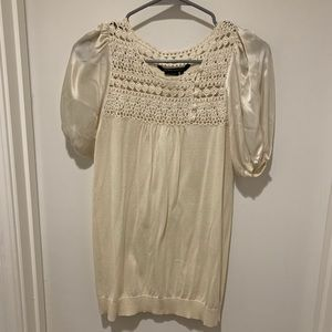 BCBGMaxAzria Cream Silk Short Sleeve Blouse